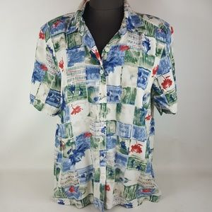 Alfred Dunner Button Up Blouse, Womens 16W
